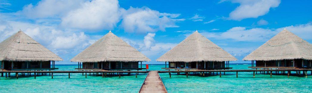 bungalows de paja sobre agua